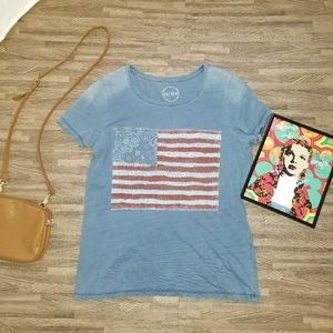 Lucky Brand American Flag Distressed Tshirt Large